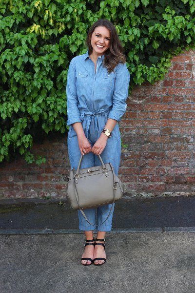 Long sleeve chambray jumpsuit with pointed heeled sandals
