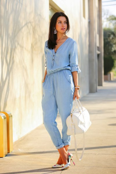 chambray jumpsuit white handbag heels