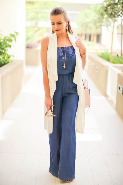 wide leg chambray jumpsuit white long vest