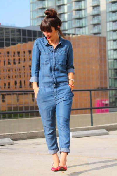 long sleeve chambray jumpsuit ballet flats