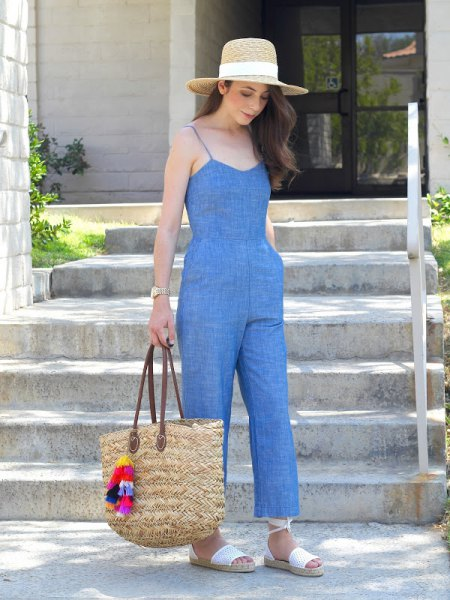 washed chambray jumpsuit grass hat