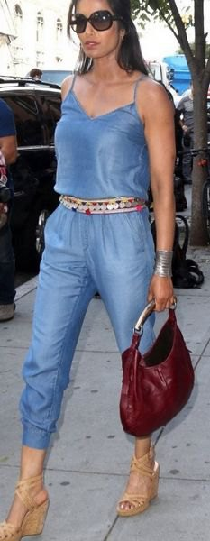 chambray jumpsuit statement belt boho heeled sandals