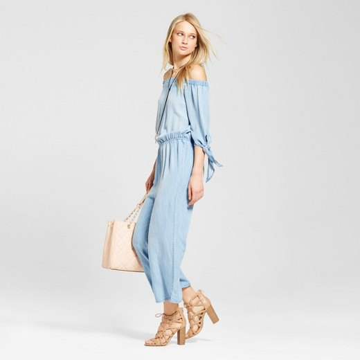 of shoulder chambray jumpsuit strappy sandals