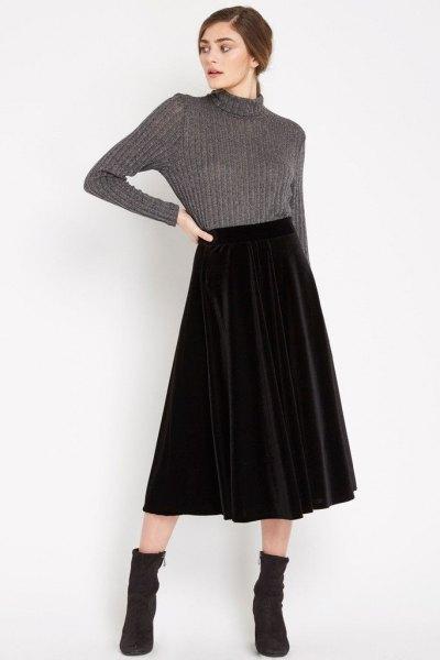 gray high neck knit sweater midi velvet skirt
