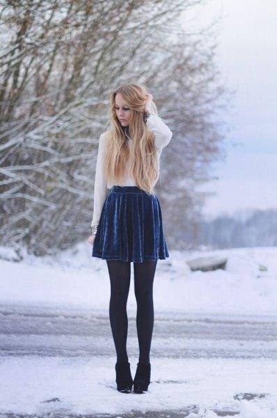 white chiffon blouse blue plated skirt