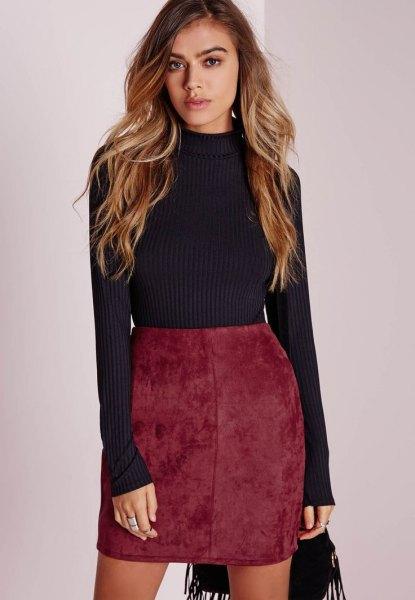 gray knitted sweater red high waist velvet skirt