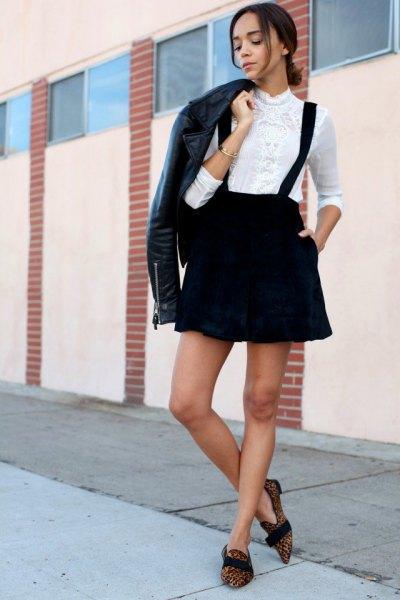 black velvet bracelet skirt white blouse