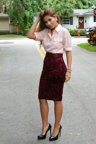 white button up shirt red velvet pencil skirt