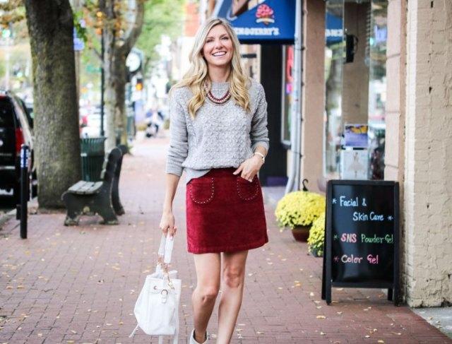 gray knitted sweater red velvet skirt