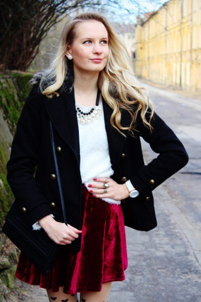 black wool coat red velvet skirt