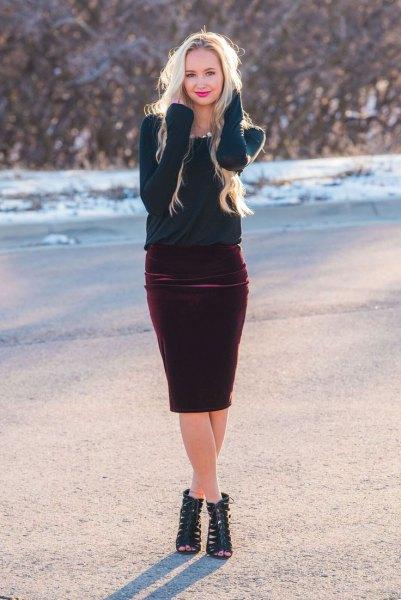 navy sweater burgundy skirt in skirt