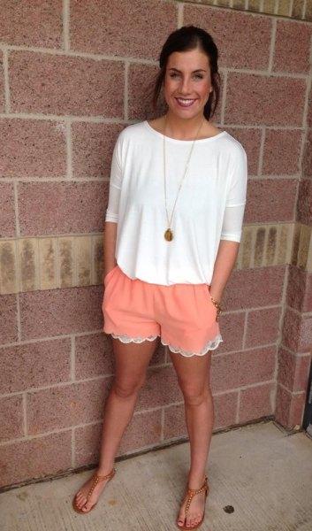 orange lace chiffon shorts white top