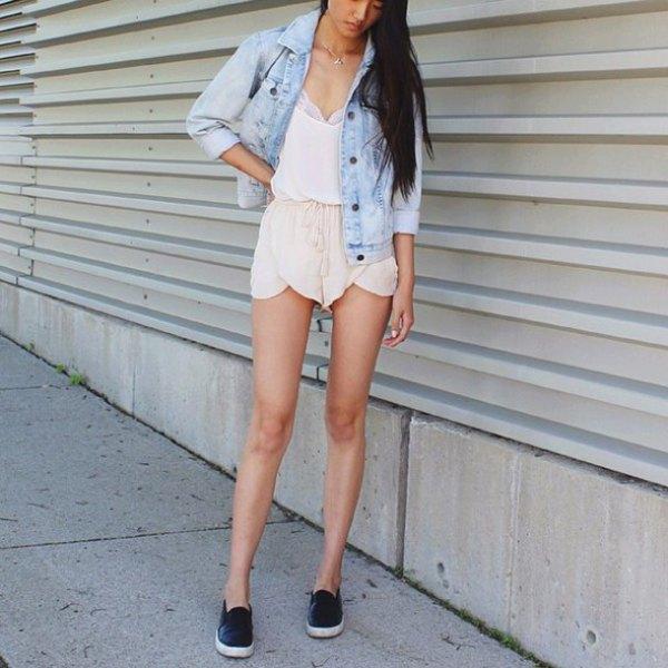 beige chiffon shorts denim jacket