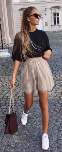 high waist beige chiffon shorts