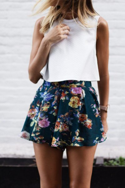 sleeveless white navy blue chiffon shorts