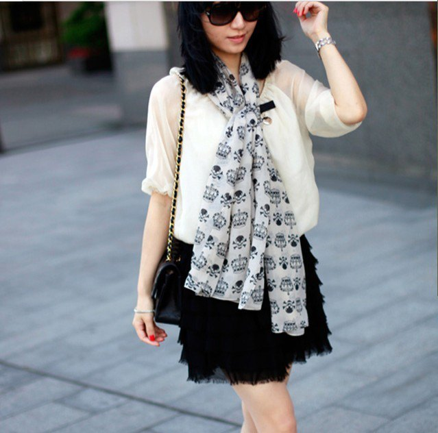 white printed chiffon scarf semi pure blouse