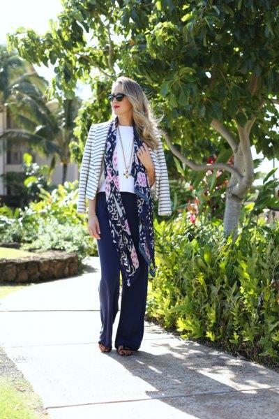 long floral chiffon scarf striped cotton jacket