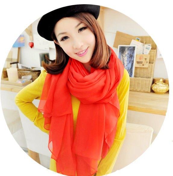red chiffon scarf yellow shift dress paint hat