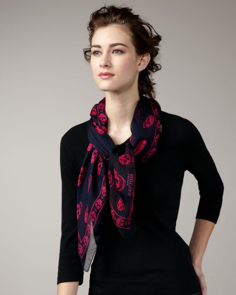 chiffon scarf with fit and flare black dress