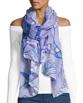 blue chiffon scarf from shoulder white top