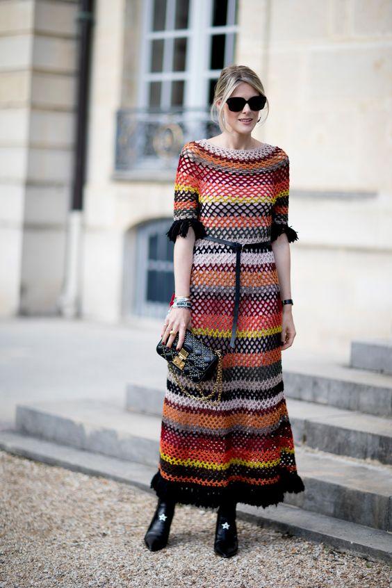 crocheted dress earth tones