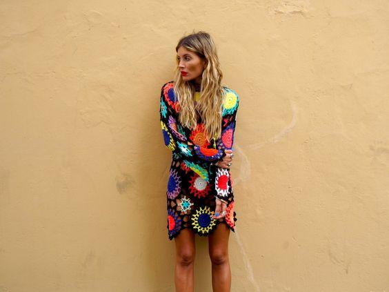 crochet dress colorful