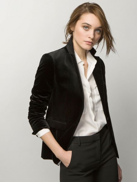 black velvet blazer white shirt gray chinos