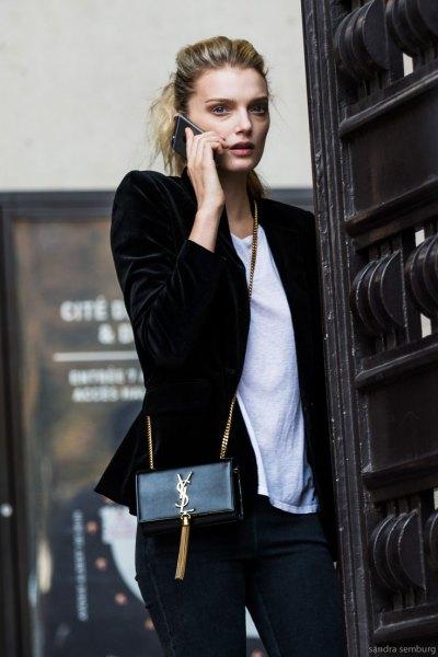 black velvet blazer white t-shirt outfit