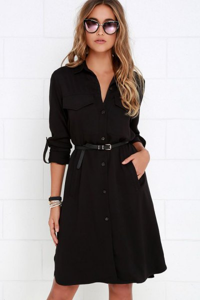 tie waist knee length shirt dress