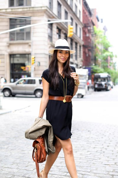 white blanket hat brown belt black shirt dress