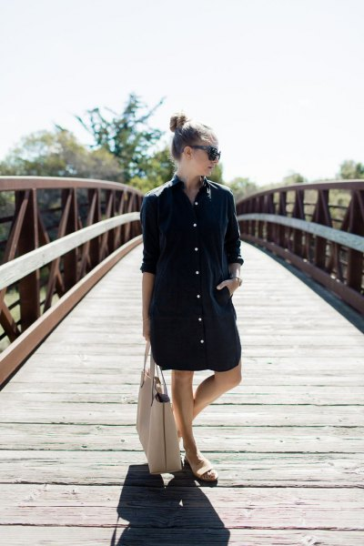 black big shirt dress white sandals