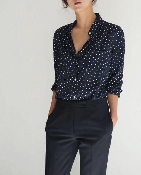 black and white small polka dot shirt
