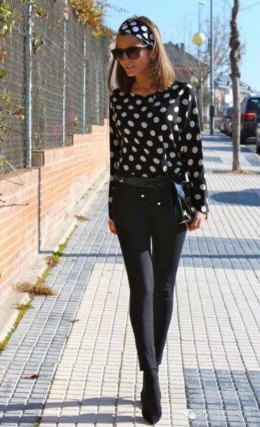 black and white polka dot headband