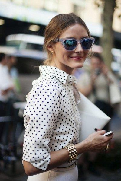 white and black polka dot shirt