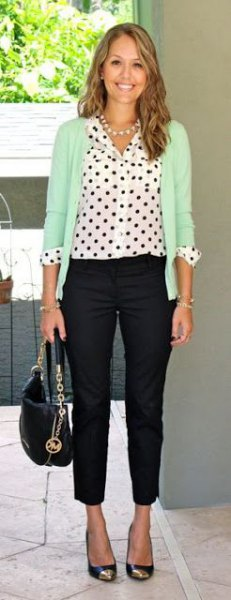 white polka dot shirt cream cardigan black skinny pants