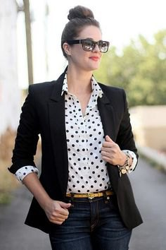 white polka dot shirt black blazer