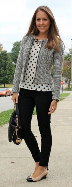 white and black polka dot blouse tweed cardigan