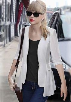 white chiffon blazer black tank top outfit