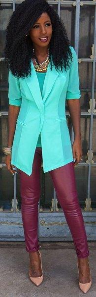 white half sleeves chiffon blazer red leather leggings