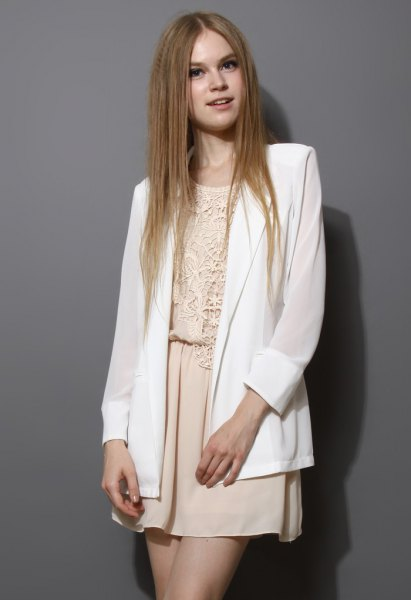 White chiffon blazer cream lace