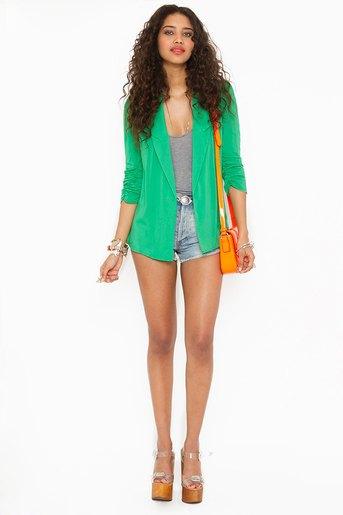 green chiffon blazer gray vest denim shorts
