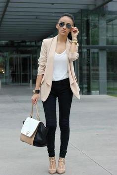 light pink chiffon blazer black skinny jeans