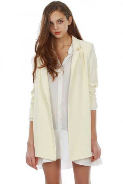 long pale yellow chiffon blazer sheer shirt dress
