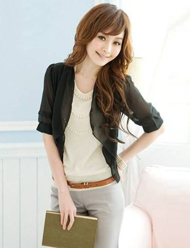 black half-heated blazer cream top gray pants