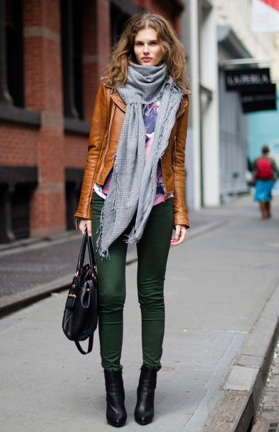 green skinny jeans brown jacket