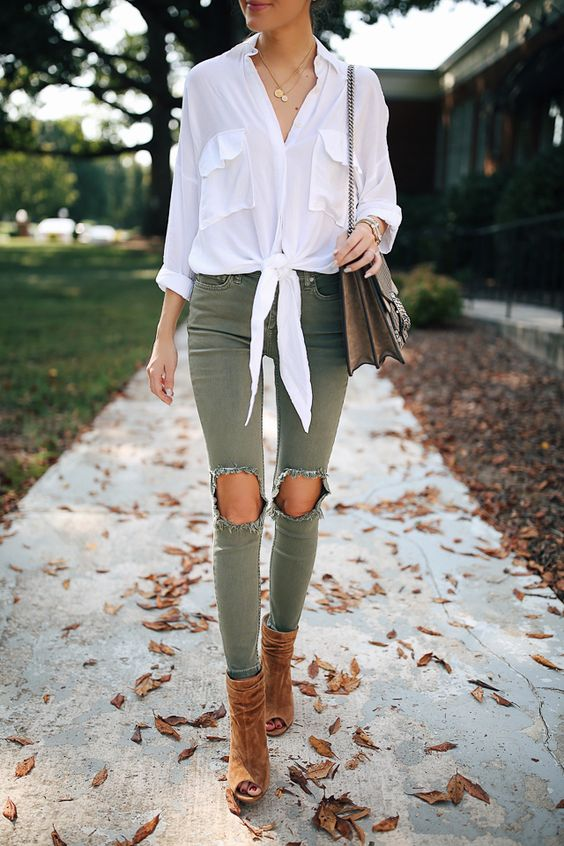 green slim jeans ripped