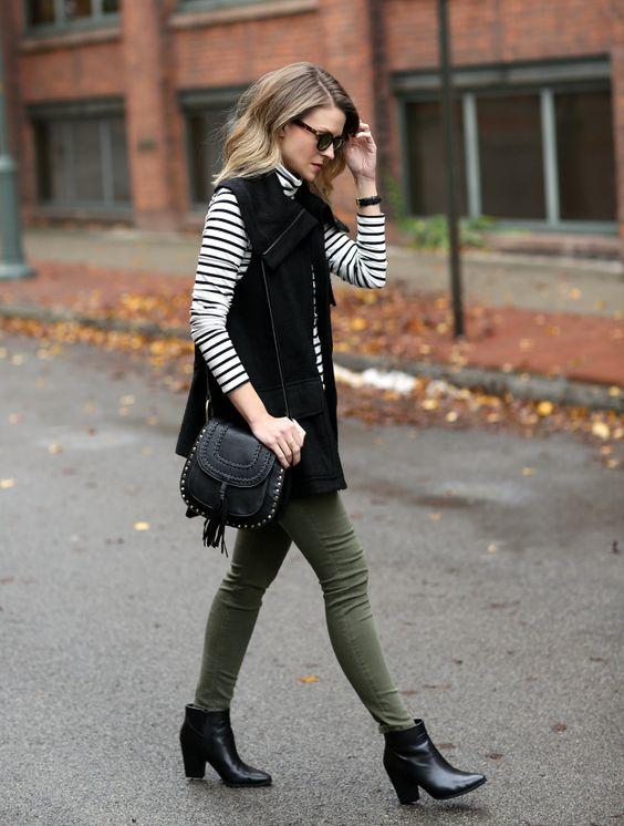 green skinny jeans vest