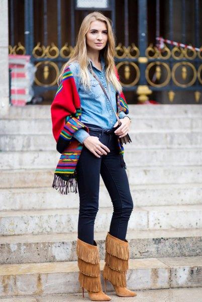 denim shirt felt scarf fringe boots