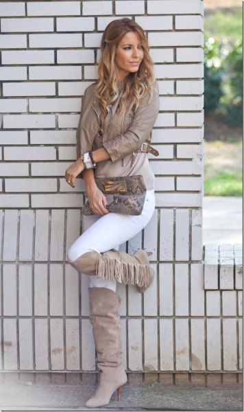 gray knee high fringed leather jacket