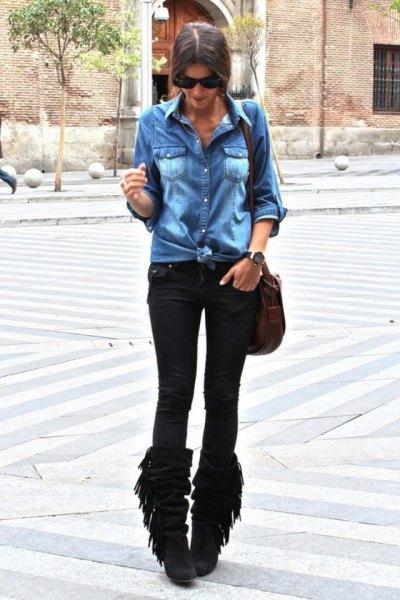 black fringe boots denim shirt slim jeans